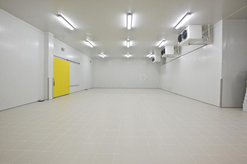 Cold storage. Empty storage in a meat processing factory. Big Industrial refrigerator or dryer for any kind of food, meat, fruit or vegetable. From -10 to -80 stock photography