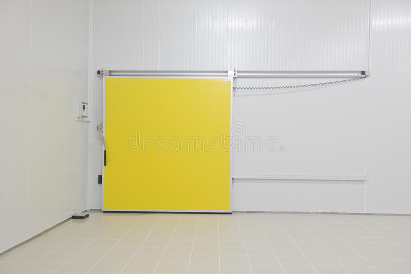Cold storage. Empty storage in a meat processing factory. Big Industrial refrigerator or dryer for any kind of food, meat, fruit or vegetable. From -10 to -80 royalty free stock photography