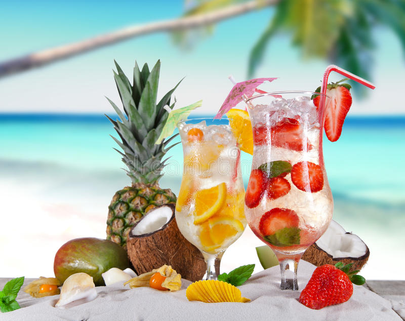 Cold Summer drinks. On sunny beach stock image