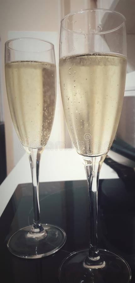 Cold tasty white sparkling wine royalty free stock images