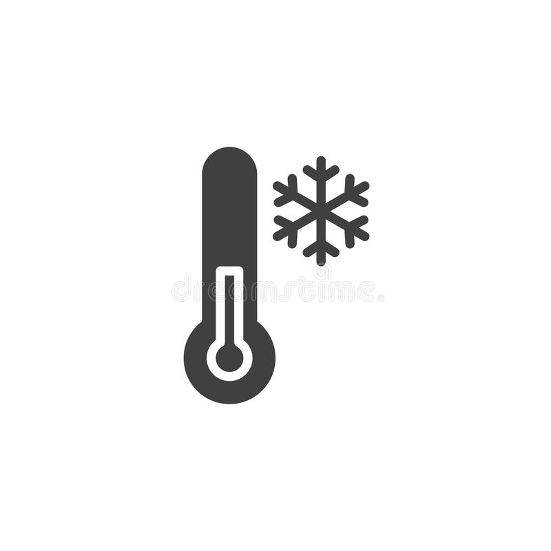 Cold Temperature vector icon. Filled flat sign for mobile concept and web design. Thermometer and snowflake simple solid icon. Winter season symbol, logo stock illustration