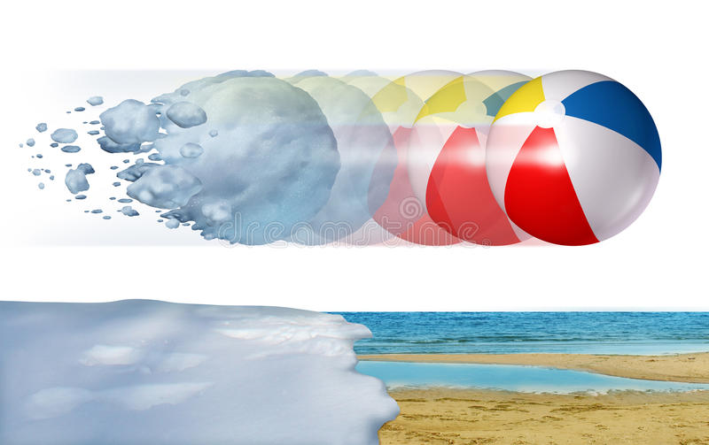 Cold To Hot Weather. Concept as a freezing winter snowball transforming into a summer beach ball as a season change or temperature changing metaphor with 3D vector illustration