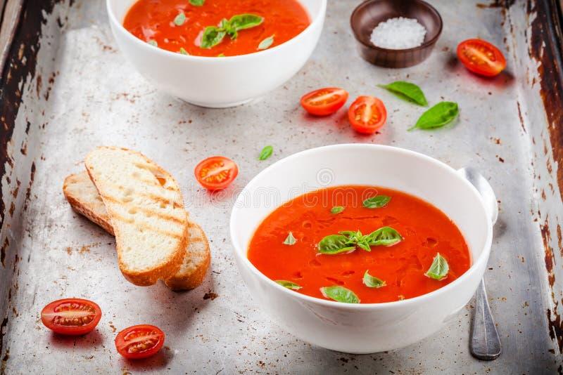 Cold tomato soup gazpacho royalty free stock photos