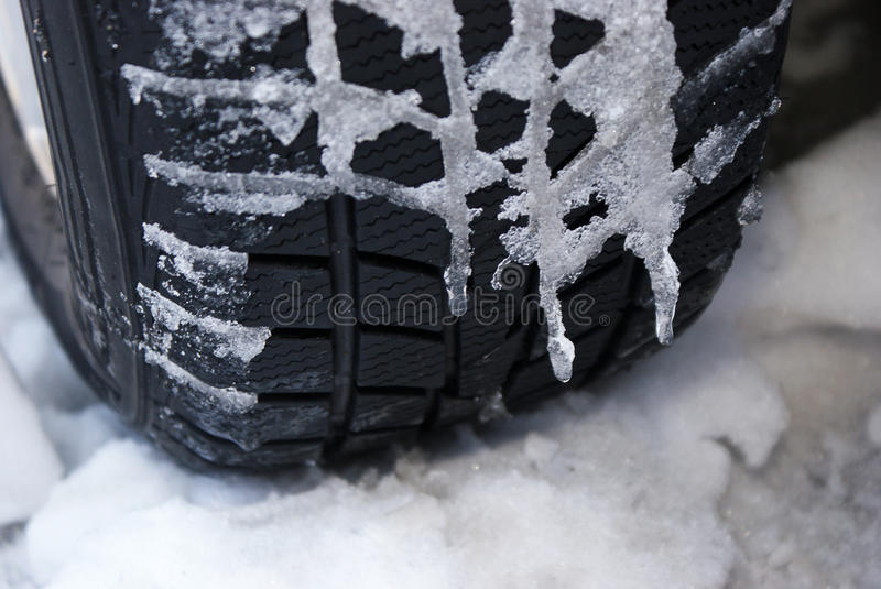 Cold tyre. Drive carefully. royalty free stock photos