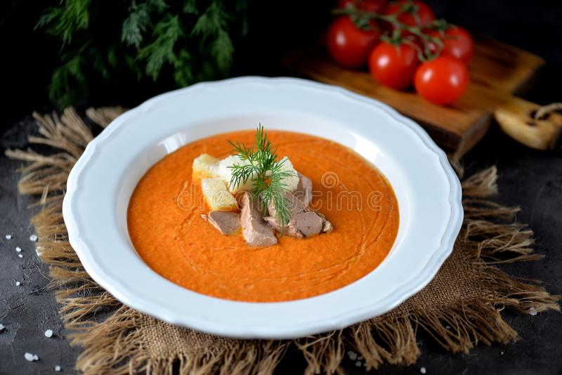 Cold vegetable soup gazpacho from tomato, red pepper, cucumber, celery with liver of cod and crackers. royalty free stock image