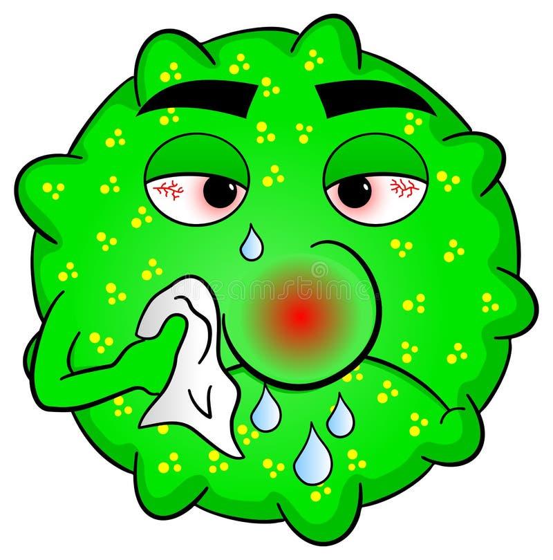 Cold virus is sick stock illustration