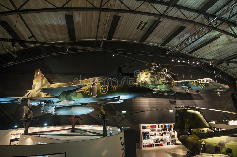 Cold war aircraft display Swedish air force museum royalty free stock images