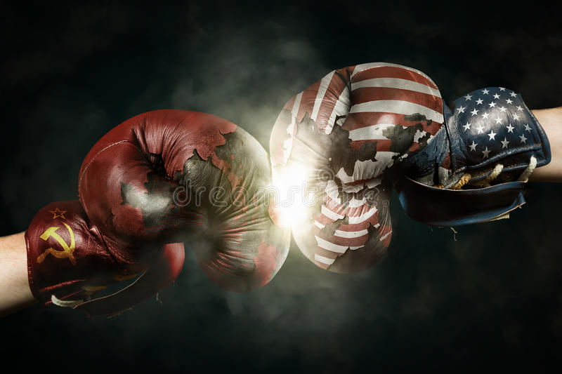 Cold War between USA and Russia symbolized with Boxing Gloves. Cold War between Russia and USA symbolized with Boxing Gloves stock photo