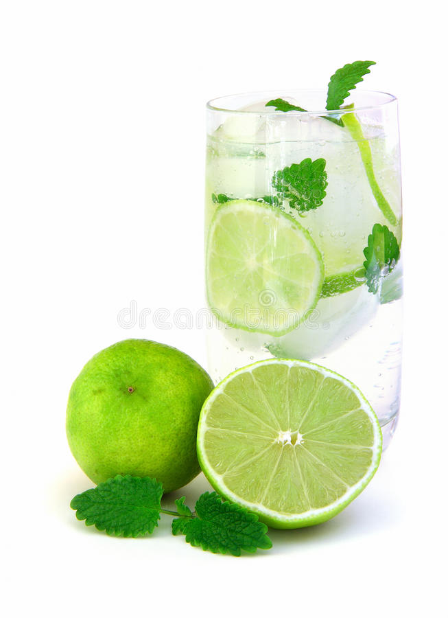 Download Cold water stock photo. Image of glass, peppermint, lime - 18663318