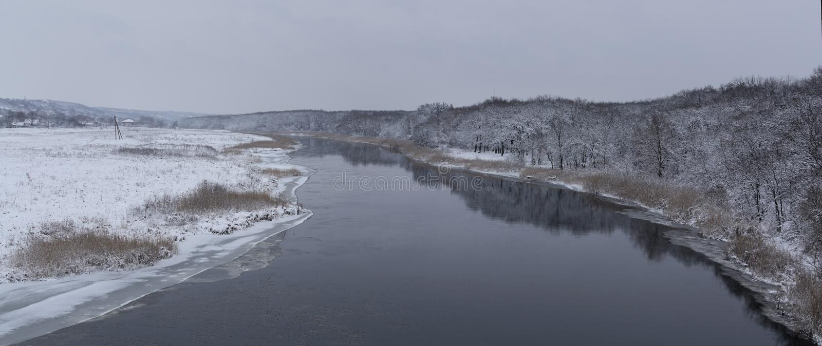 Cold water. Beautiful winters morning landscape with the river royalty free stock photos