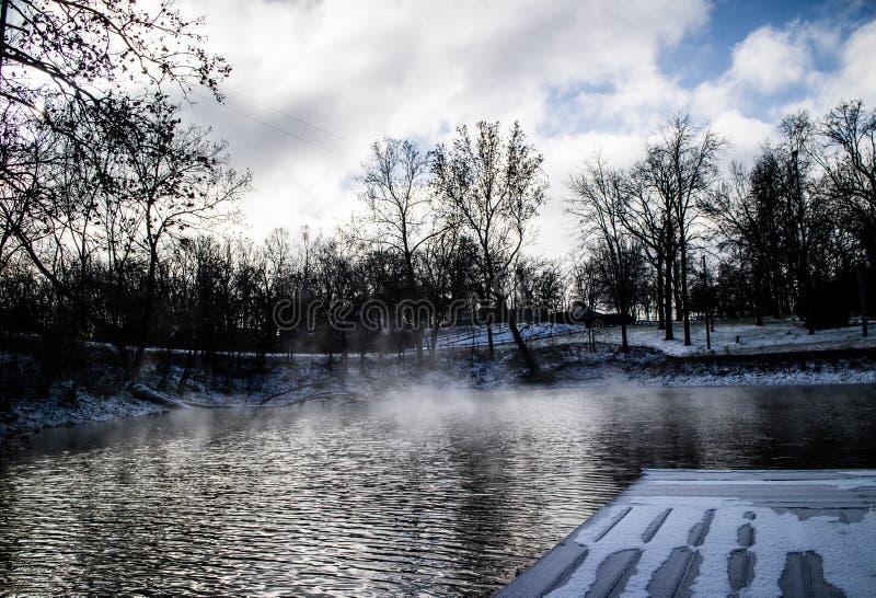 Cold water at the lake stock image