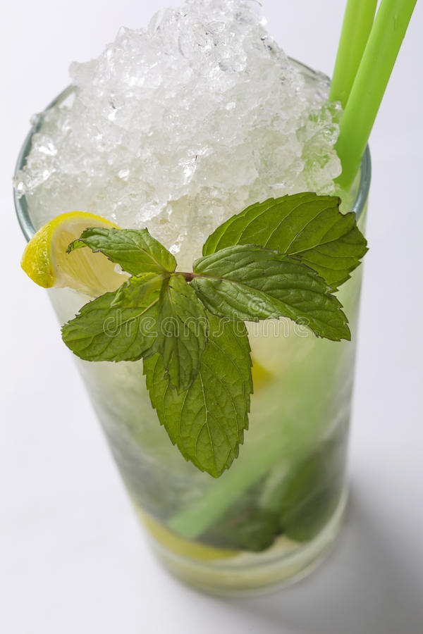 Cold Water With Lemon, Frost And Mint Leaf royalty free stock photography