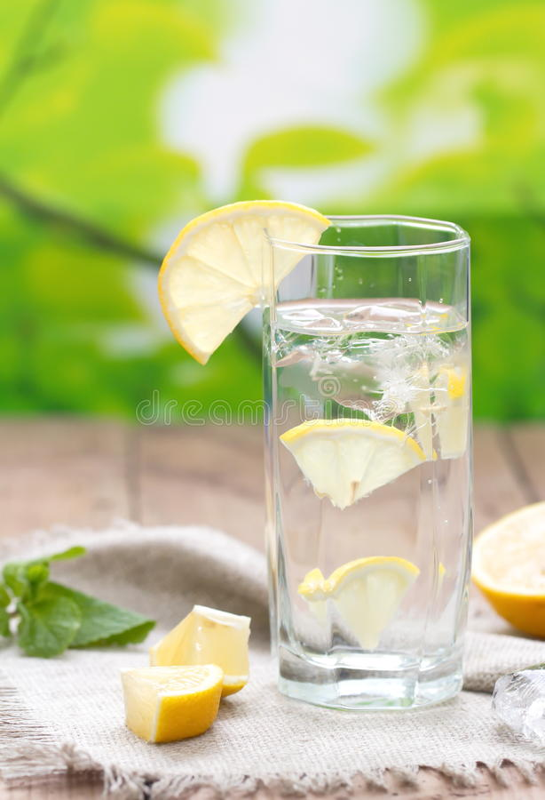 Cold Water with Lemon. Cold Water with Ice and Lemon royalty free stock photos