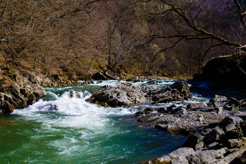 Cold water rushing through rocks in morning. Mountain stream. Spring landscape stock image