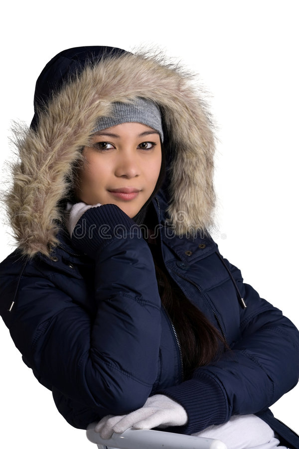 Cold weather. A model wearing a winter clothes stock photo