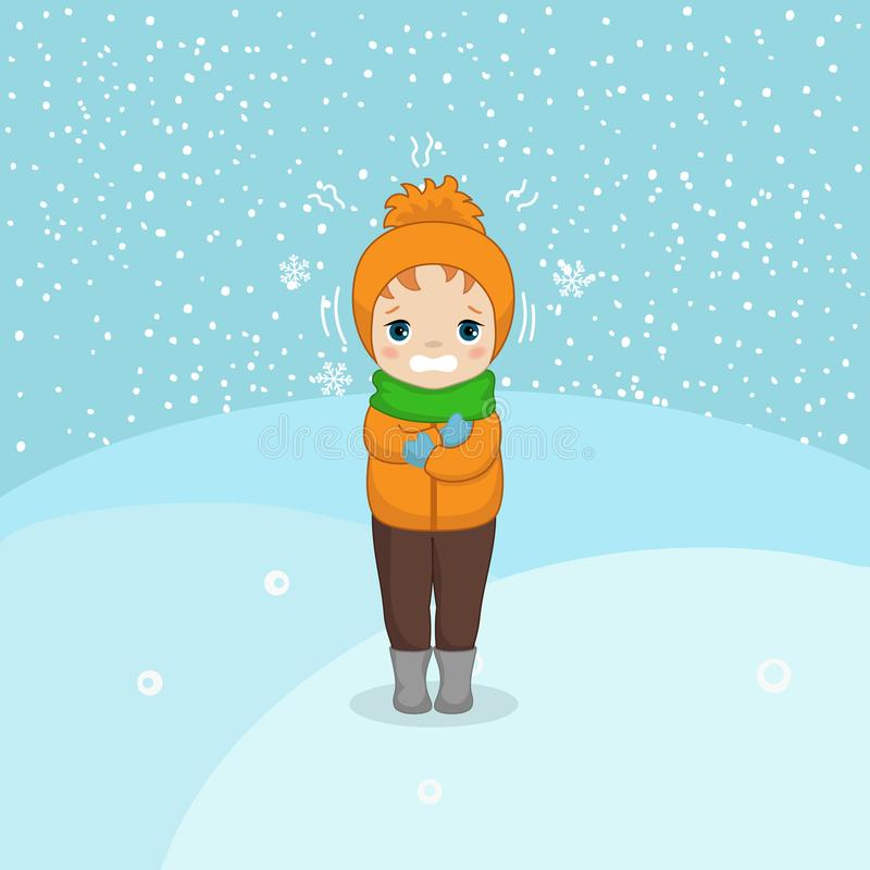 Cold weather boy. Freezing and shivering young boy on winter cold. Cartoon style illustration. Winter landscape vector illustration