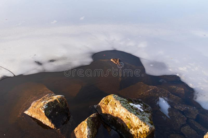 Cold weather caused water to freeze. Cold weather caused the lake to begin to freeze royalty free stock photo