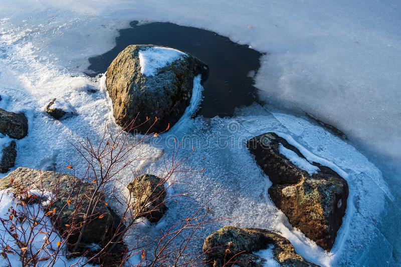 Cold weather caused water to freeze. Cold weather caused the lake to begin to freeze stock photos