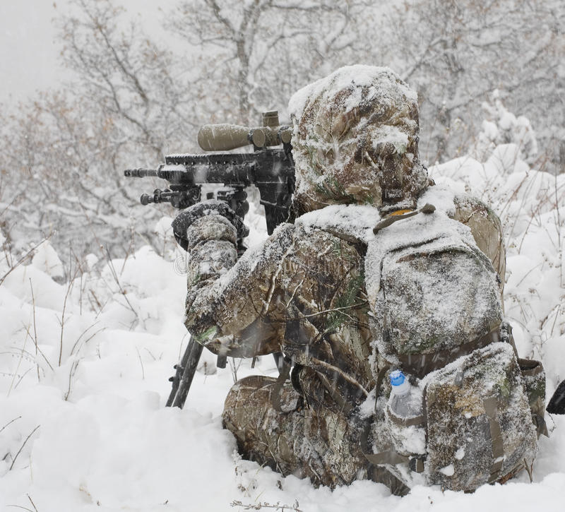 Download Cold weather hunter stock photo. Image of assault, black - 16770912