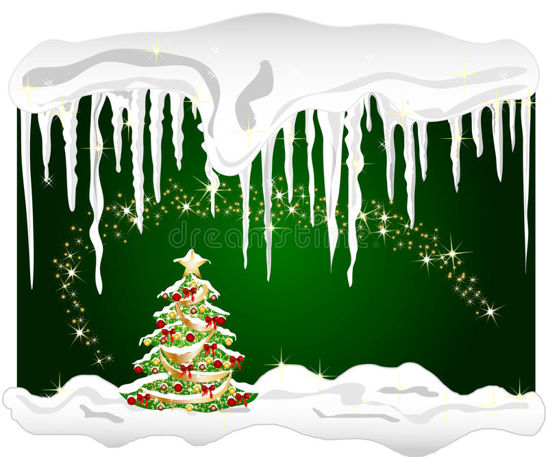 Download Cold Winter Background With Christmas Tree Stock Illustration - Illustration: 10981230