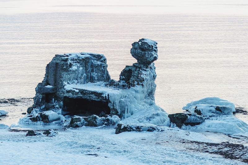 Ruined forts in winter. On a cold winter day, the collapsed forts have been frozen stock image