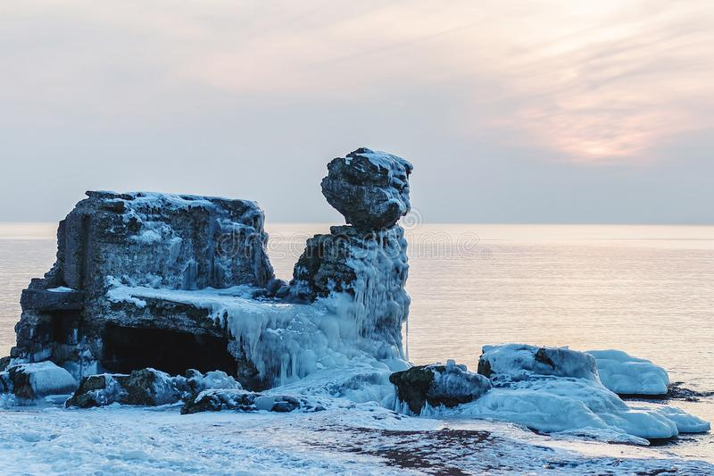 Shattered forts in winter. On a cold winter day, the collapsed forts have been frozen stock photo