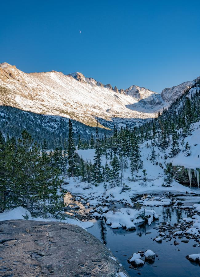 Cold Winter Day in Rocky Mountain National Park. Cold winter day hiking in Rocky Mountain National Park. Frozen lake beneath `The Spearhead` a famous climbing royalty free stock photo