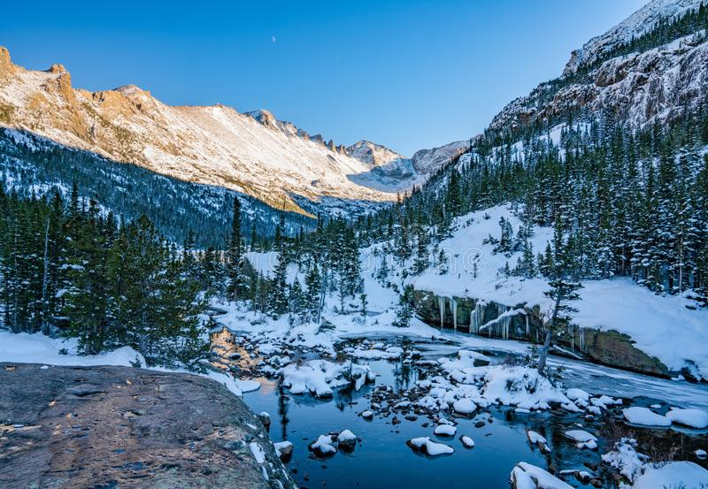 Cold Winter Day in Rocky Mountain National Park. Cold winter day hiking in Rocky Mountain National Park. Frozen lake beneath `The Spearhead` a famous climbing stock photos