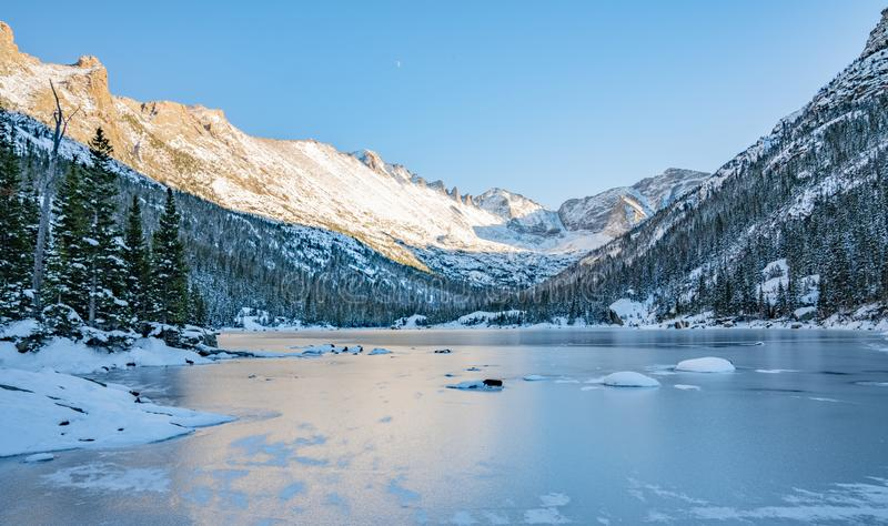 Cold Winter Day in Rocky Mountain National Park. Cold winter day hiking in Rocky Mountain National Park. Frozen lake beneath `The Spearhead` a famous climbing stock images
