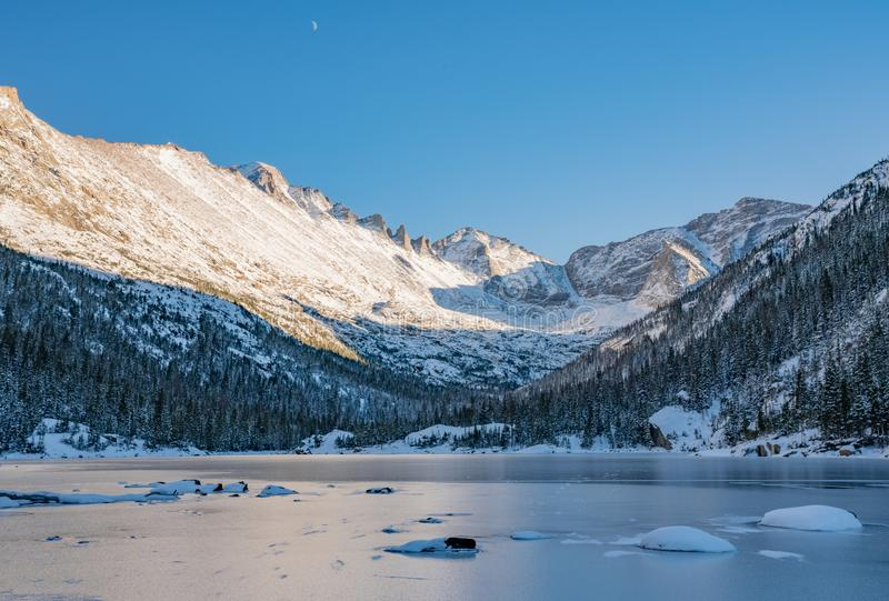 Cold Winter Day in Rocky Mountain National Park. Cold winter day hiking in Rocky Mountain National Park. Frozen lake beneath `The Spearhead` a famous climbing stock image