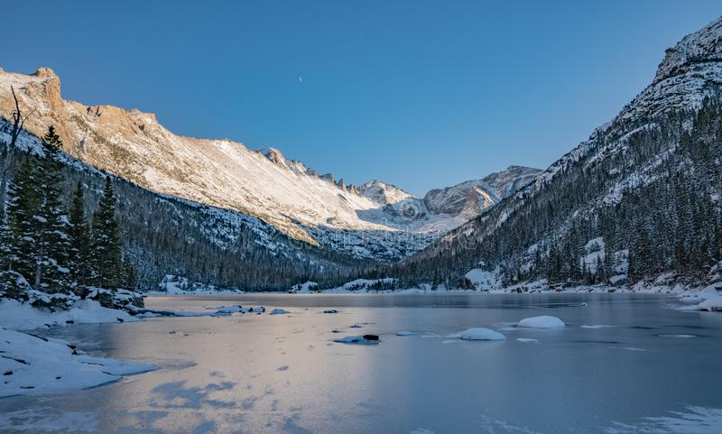 Cold Winter Day in Rocky Mountain National Park. Cold winter day hiking in Rocky Mountain National Park. Frozen lake beneath `The Spearhead` a famous climbing stock photography