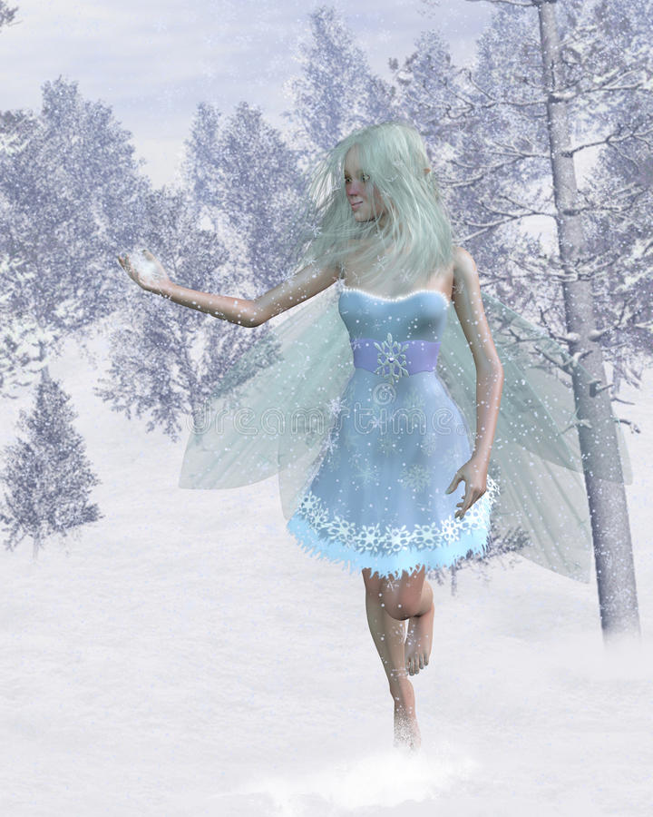 Cold Winter Fairy Catching Snowflakes