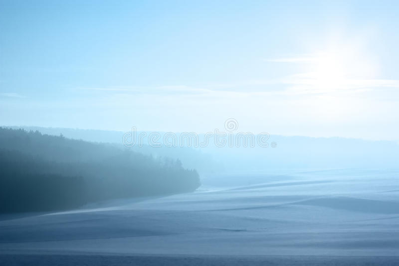 Cold winter landscape in Germany. Cold, snowy winter landscape in Germany royalty free stock photo