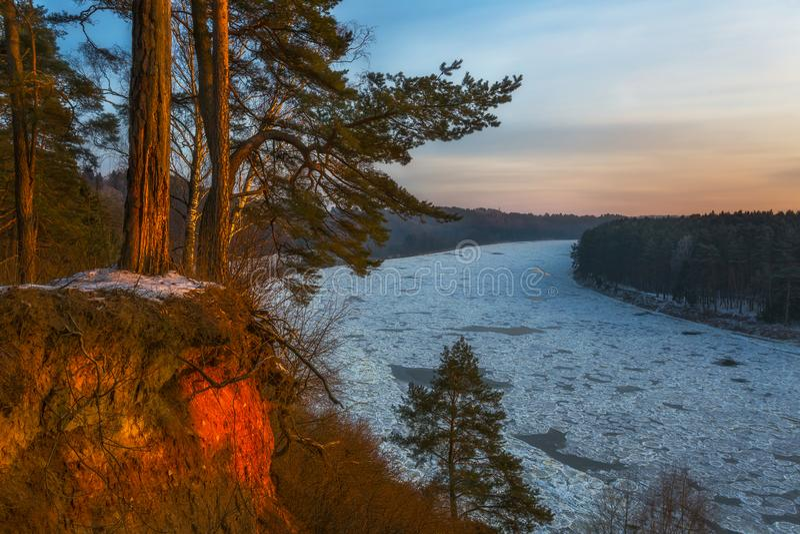 The landscape of a frozen river stock images