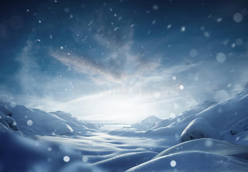 Cold Winter Snow Storm Background royalty free stock image