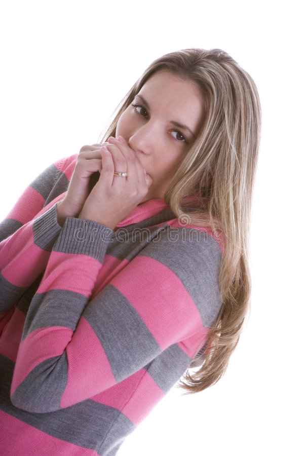 Download Cold Woman stock image. Image of pink, background, woman - 1700691
