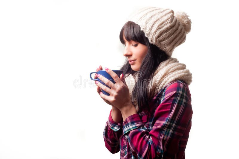 A cold woman royalty free stock image