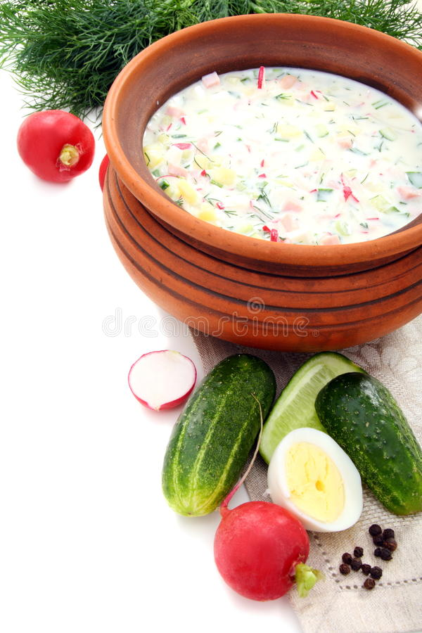 Cold yogurt soup with eggs, vegetables and meat. Cold yogurt soup with eggs, vegetables and meat in a ceramic bowl royalty free stock images