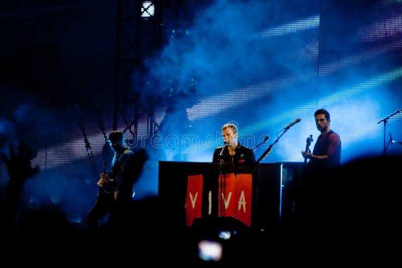 Coldplay playing for Viva La Vida Tour royalty free stock image