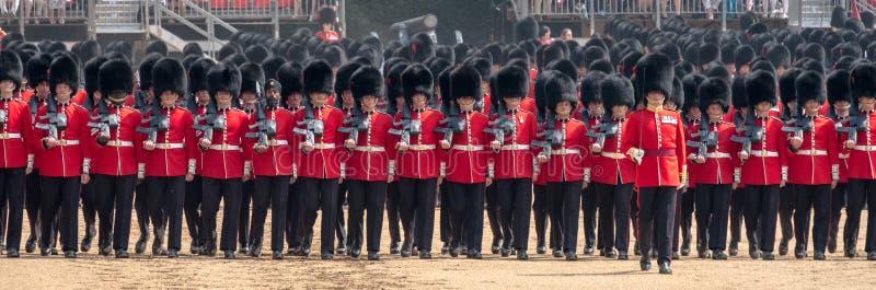 Coldstreamwachten bij zich het Verzamelen de Kleur, militaire ceremonie bij de Parade van Paardwachten, Londen, het UK stock fotografie