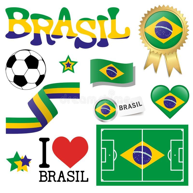 Coleção - ícones de Brasil e acessórios do mercado ilustração do vetor