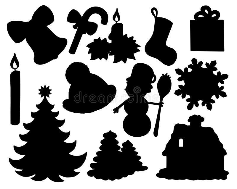 Coleção 02 da silhueta do Natal ilustração royalty free