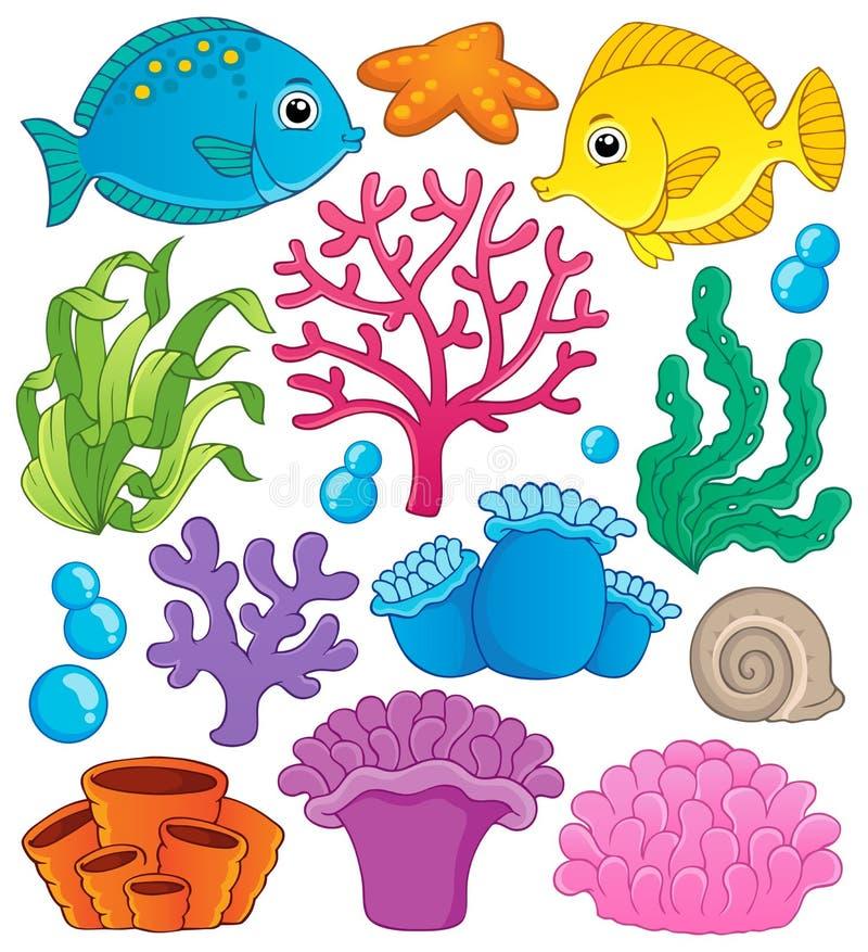 Coleção 1 do tema do recife de corais ilustração do vetor