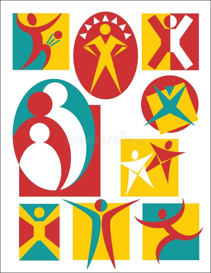 Coleção #3 dos logotipos dos povos ilustração stock