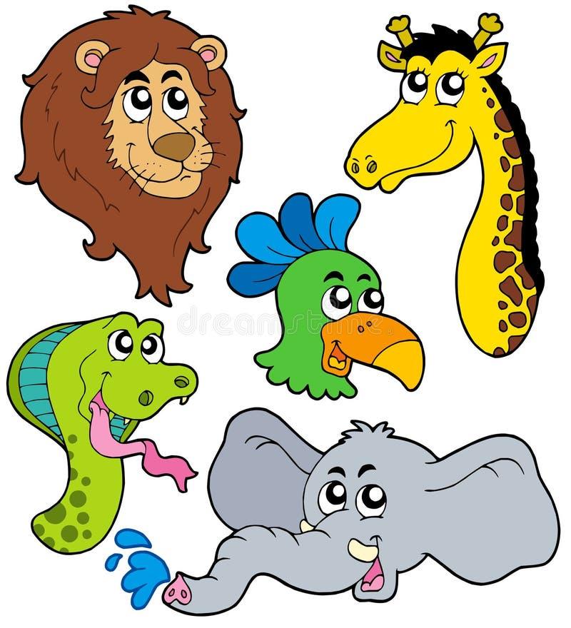 Coleção 6 dos animais do JARDIM ZOOLÓGICO ilustração do vetor