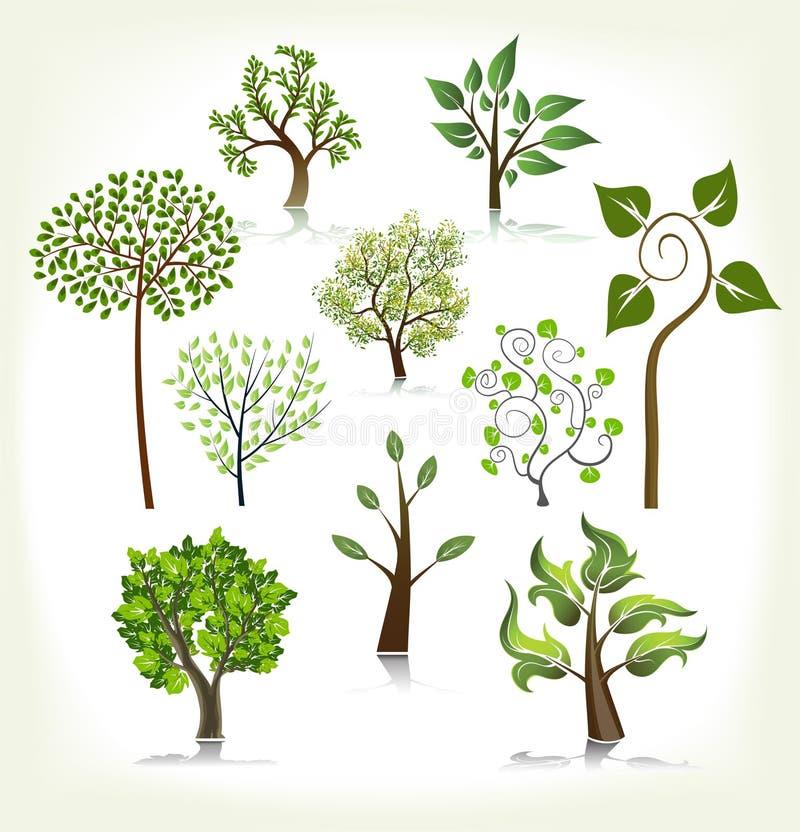 Coleção abstrata das árvores ilustração do vetor