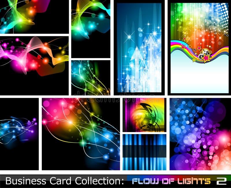 Coleção abstrata do cartão: Fluxo das luzes 2 ilustração royalty free