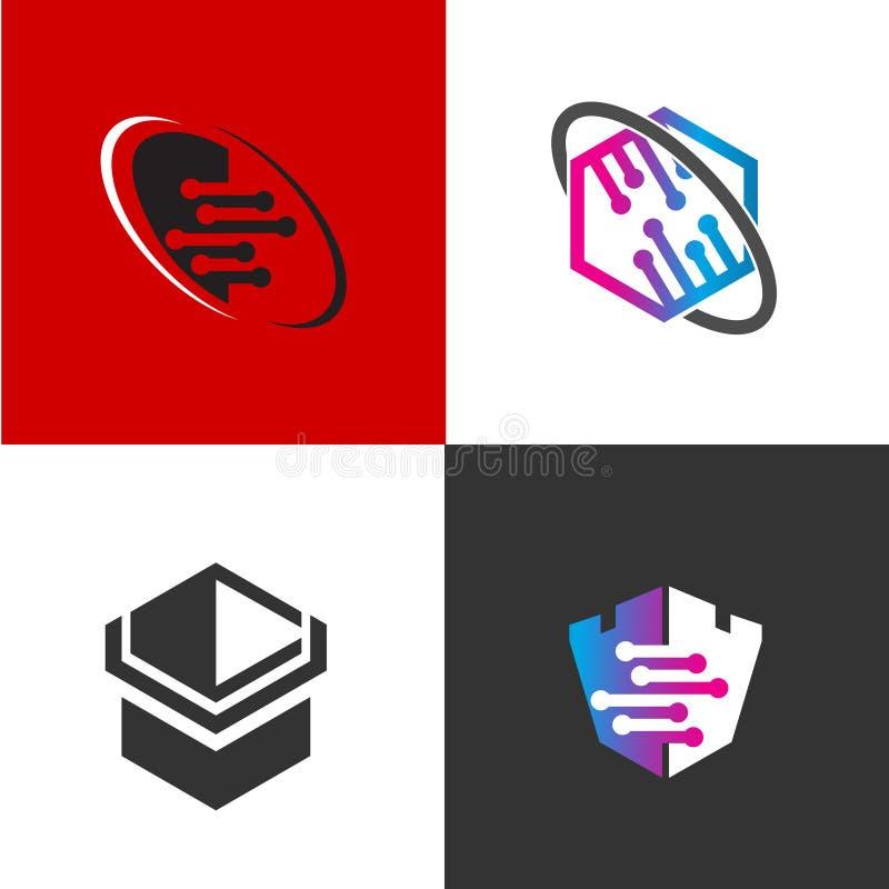 Coleção abstrata do logotipo, combinações de cor lisas do logotipo moderno, ilustração do vetor