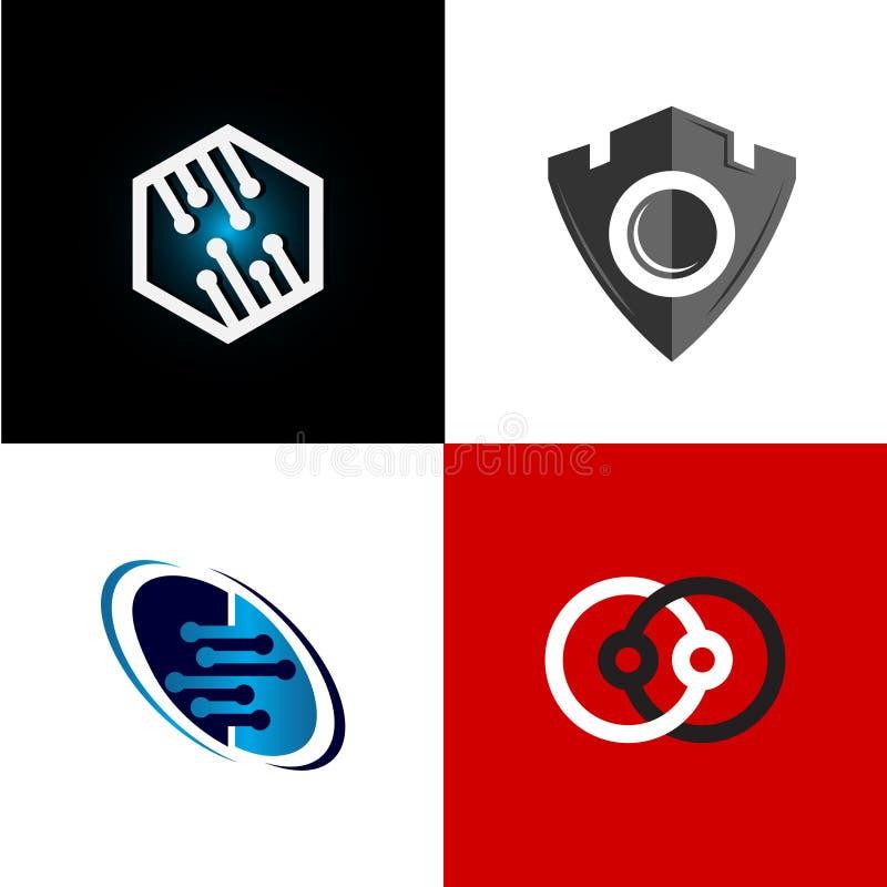 Coleção abstrata do logotipo, combinações de cor lisas do logotipo moderno, ilustração stock