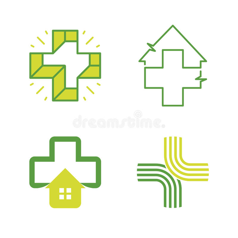 Coleção abstrata dos logotipos da cruz do vetor Grupo incomum do logotipo ilustração stock